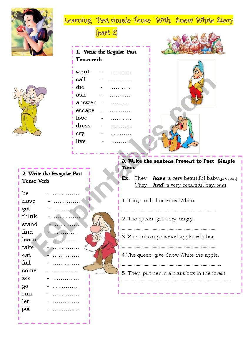 Past  Simple Tense from Snow White Story Part 2