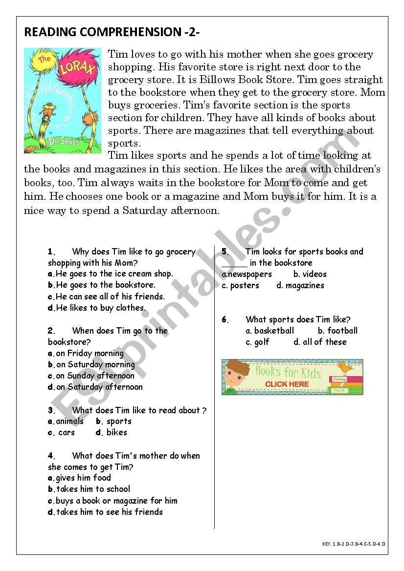 - Reading Comprehension For Beginner And Elementary Students 2 - ESL