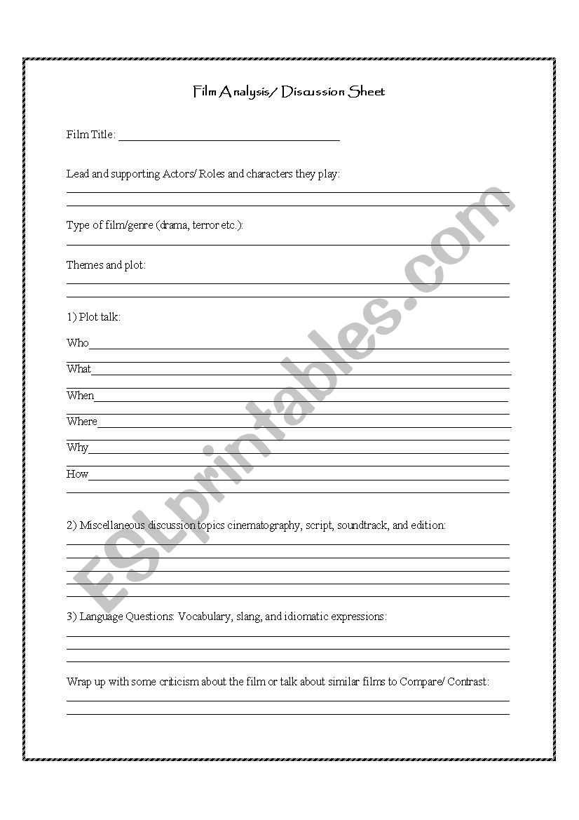 Film Discussion and Analysis Worksheet   ESL worksheet by ...