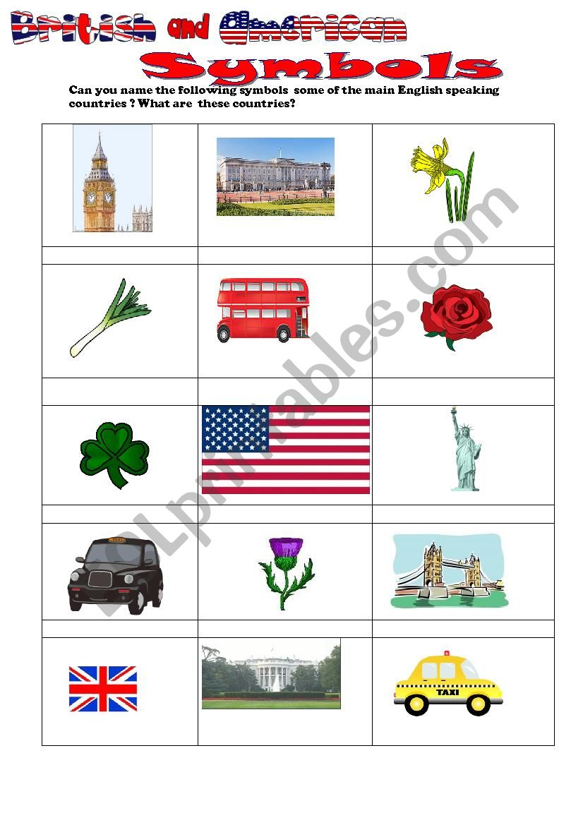 British and American symbols worksheet