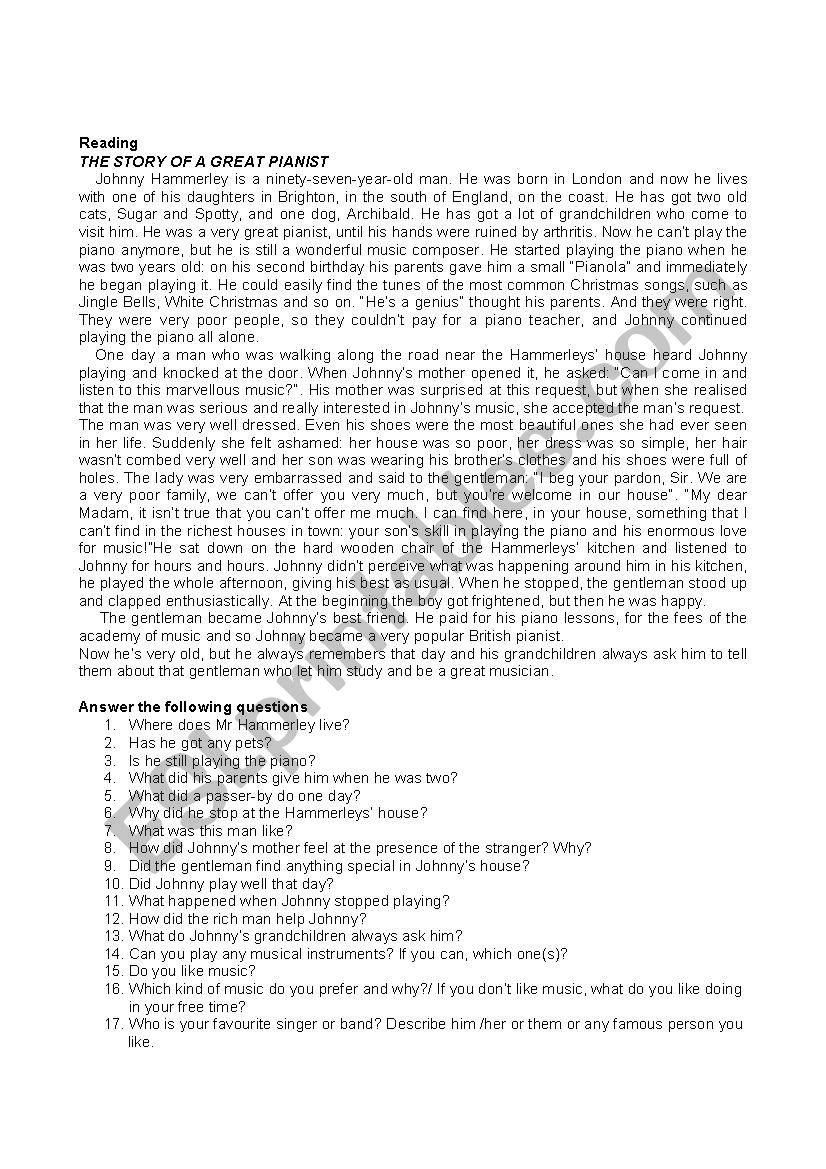 The story of a pianist worksheet