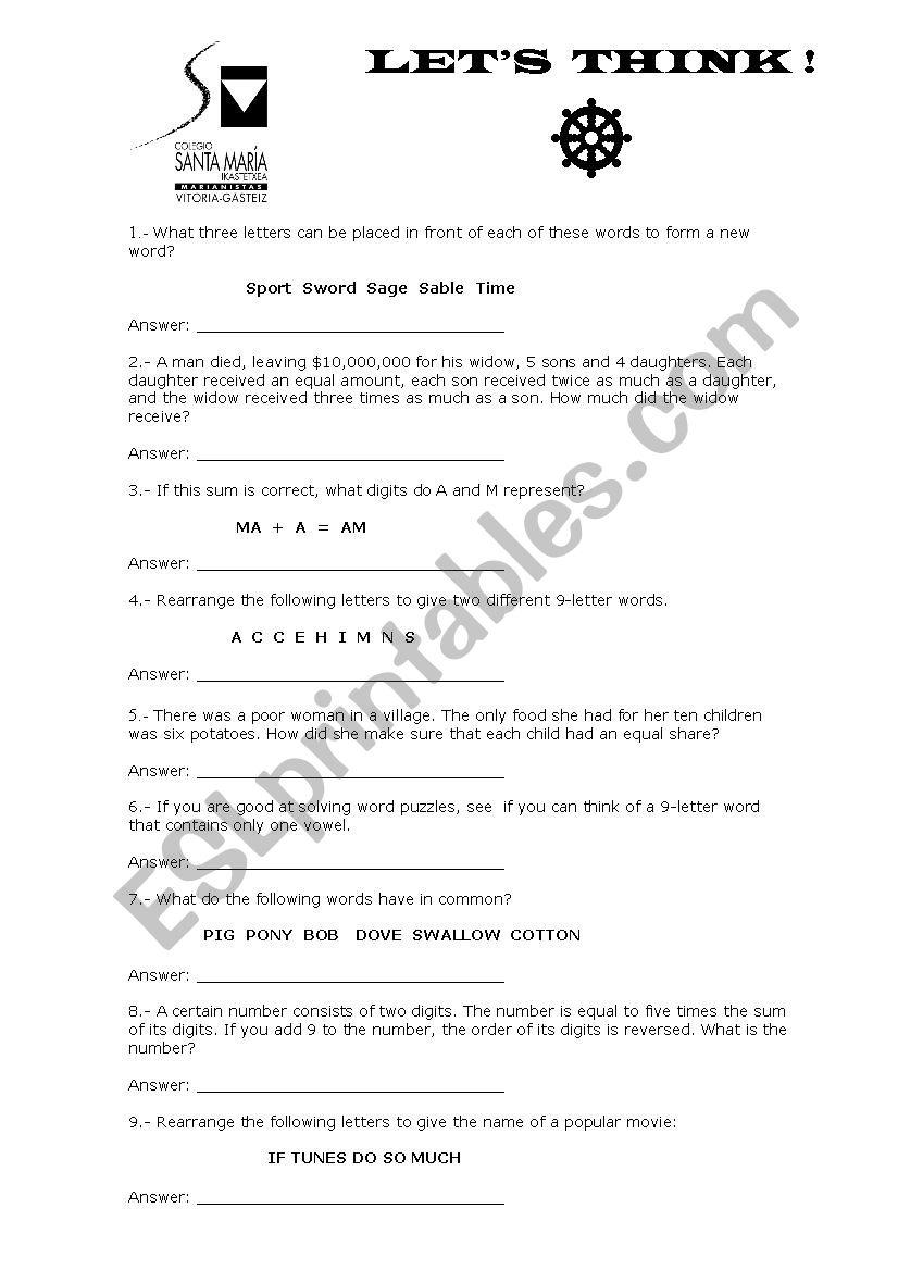 let´s think - ESL worksheet by koikilli