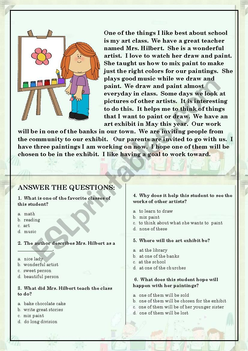 Reading Comprehension for beginner and Elementary Students 5