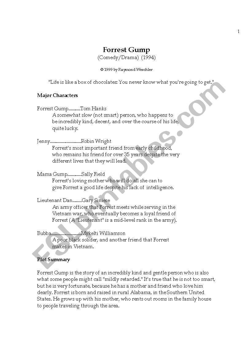 forest gump worksheet