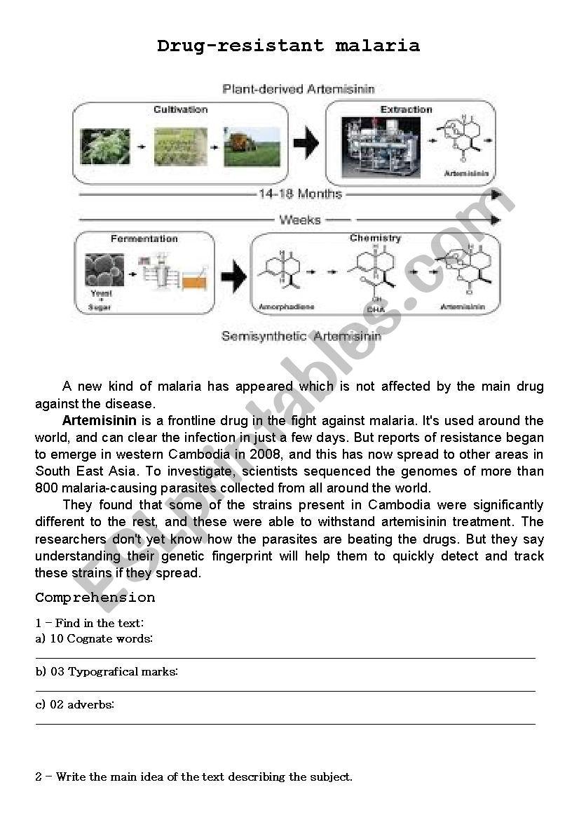 Drug-resistant malaria worksheet
