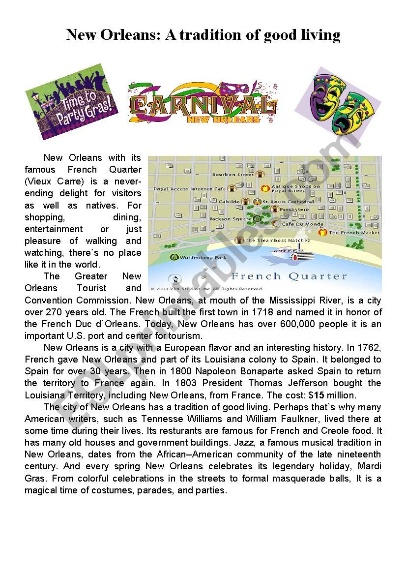 New Orleans - A brief history and its tradition of a good living