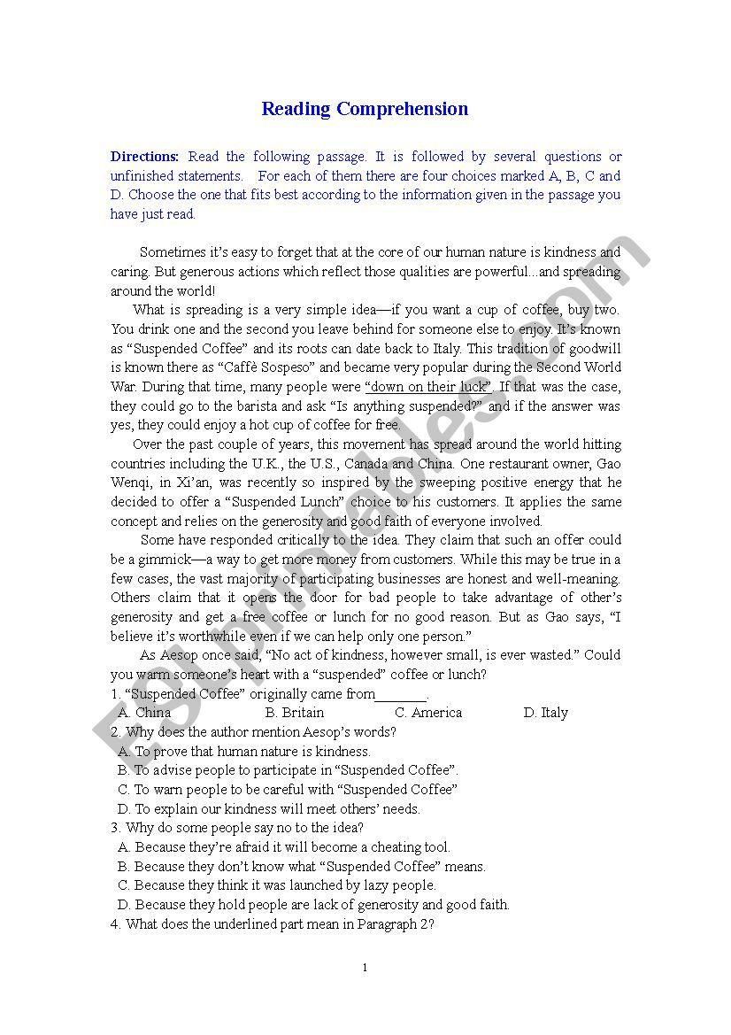 Reading Comprehension worksheet