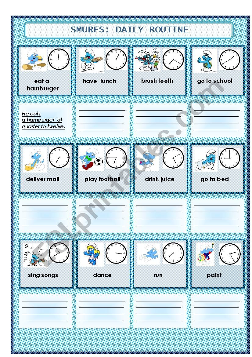 daily routine with smurfs worksheet