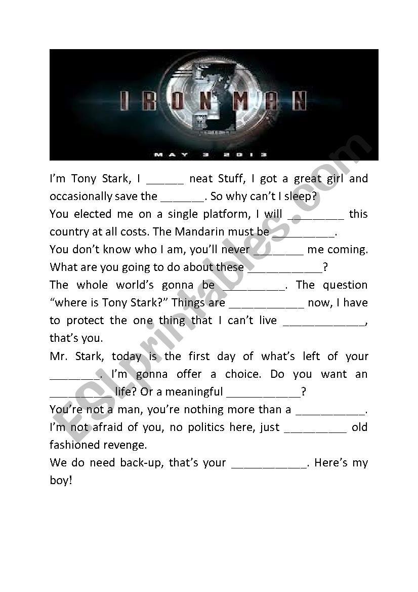 Iron man 3 gap fill worksheet