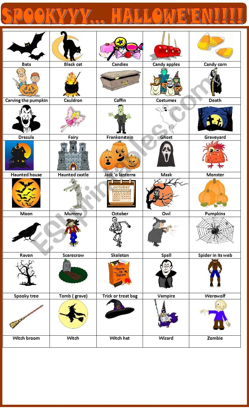 Hallowe´en pictionary worksheet