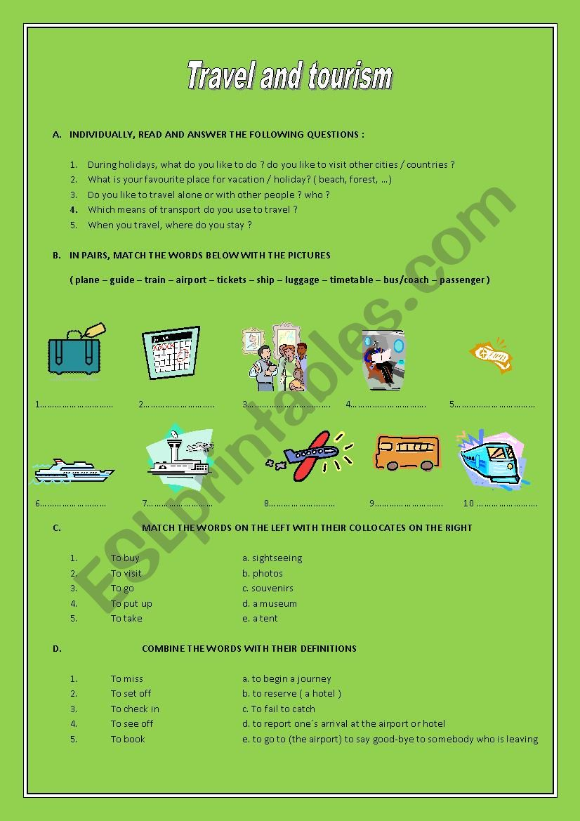 travel and tourism worksheet