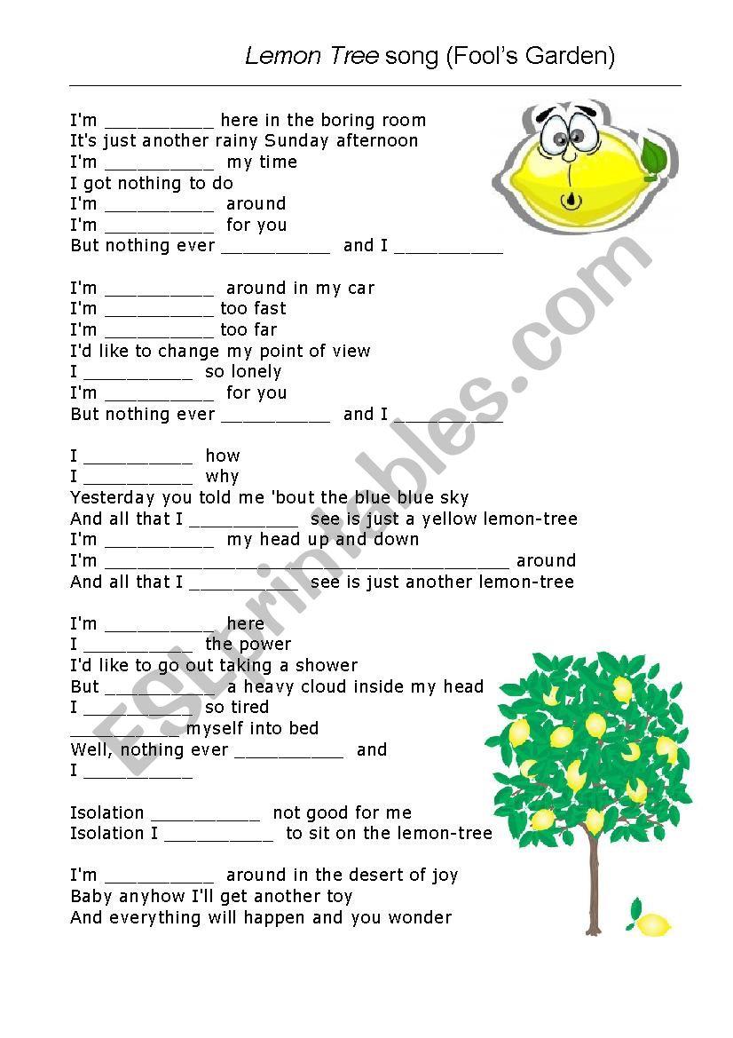 Lemon tree song gap fill worksheet