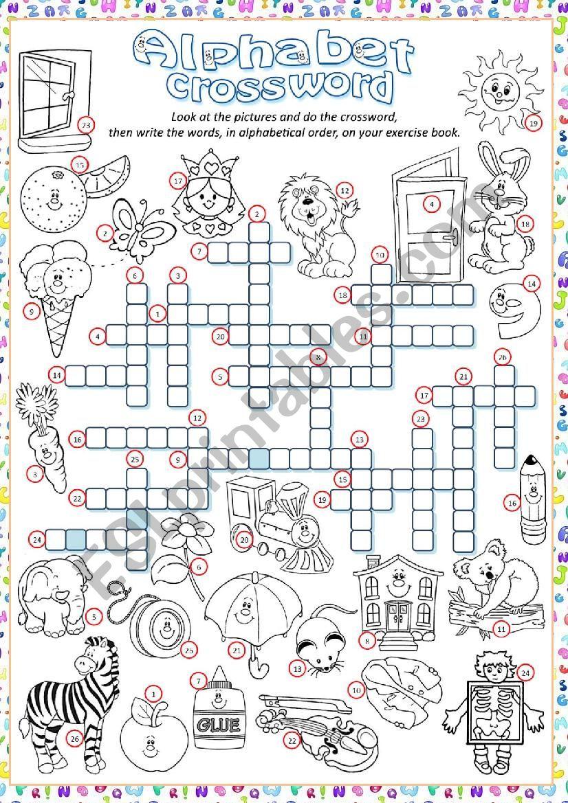 ** Alphabet Crossword  ** worksheet