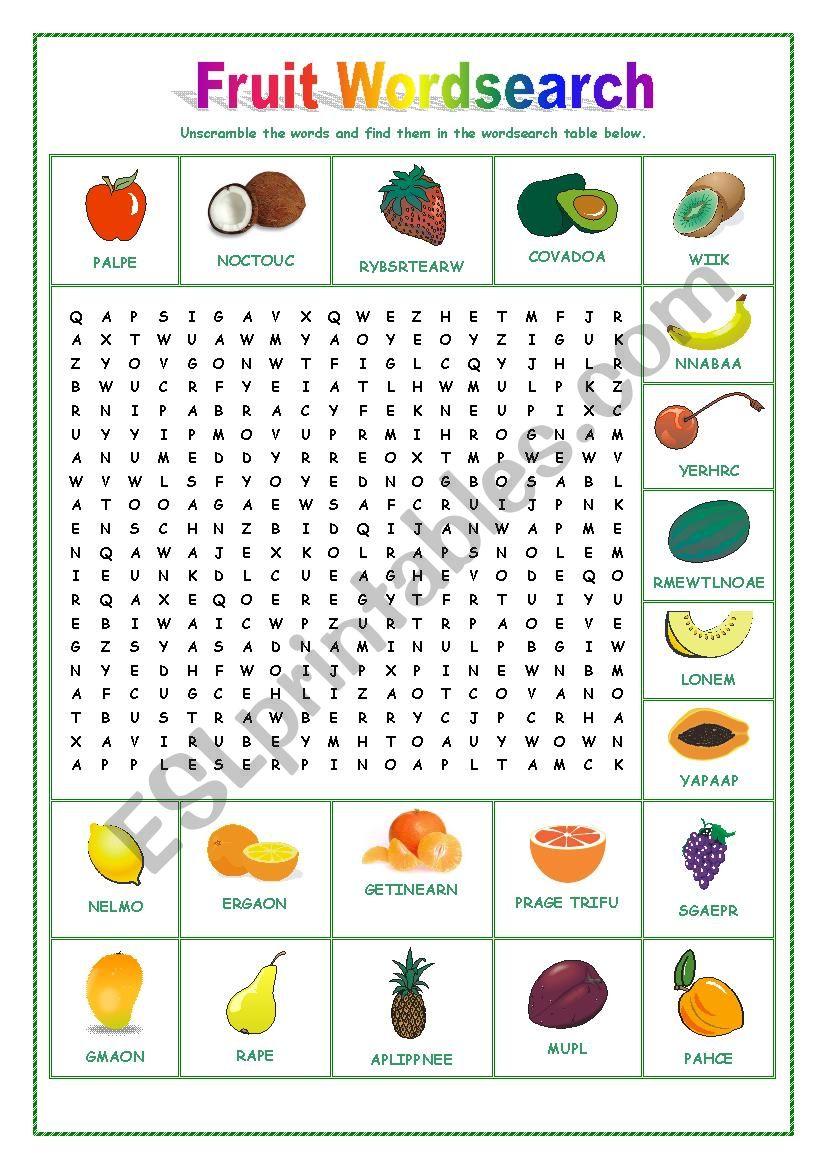 Fruit Wordsearch worksheet