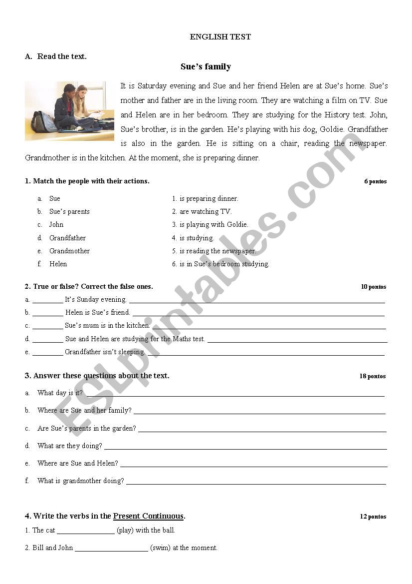 - English Test With Reading Comprehension And Grammar Exercises
