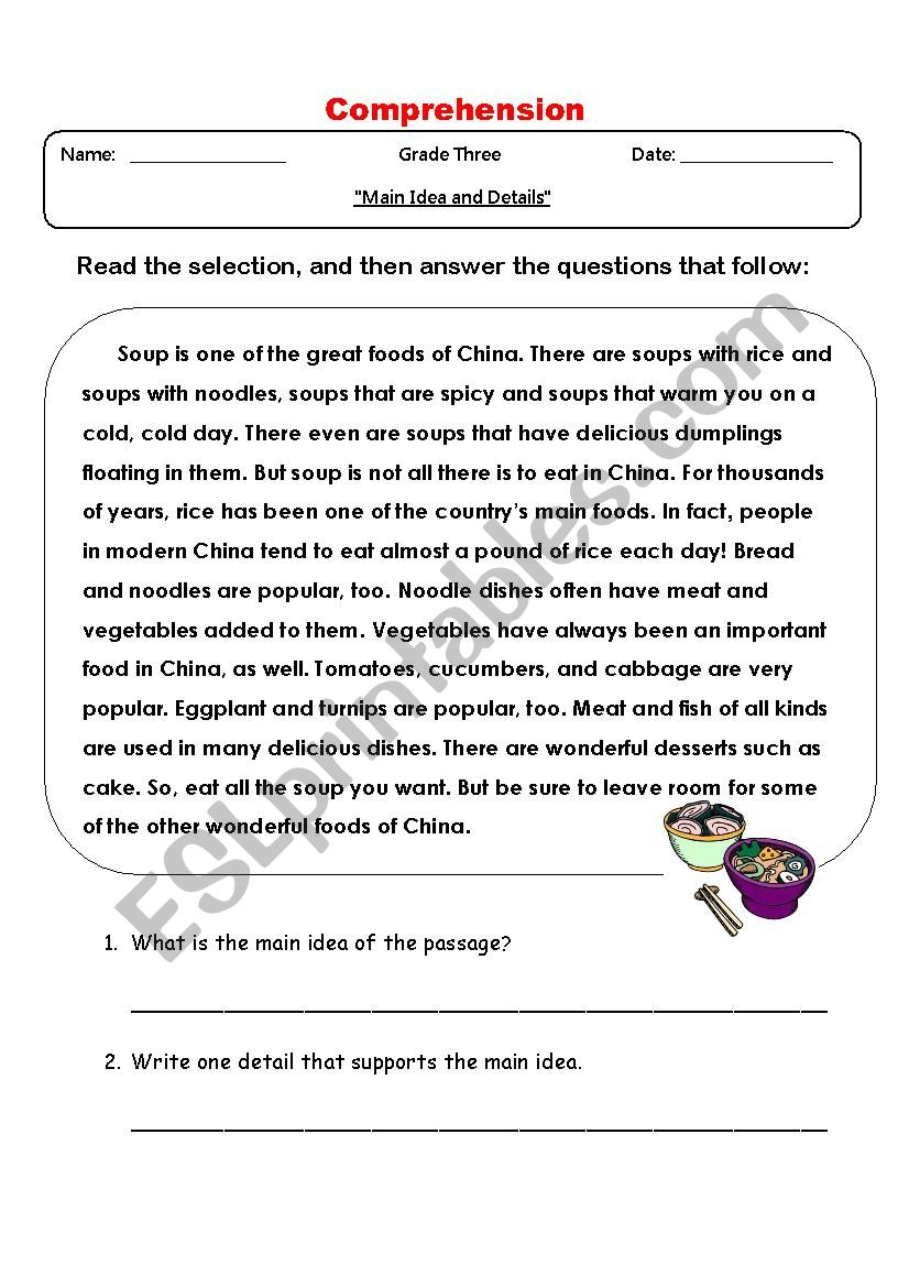 Main Idea and Detail  worksheet