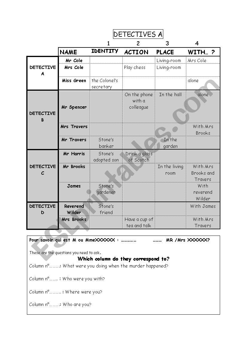 CLUEDO worksheet