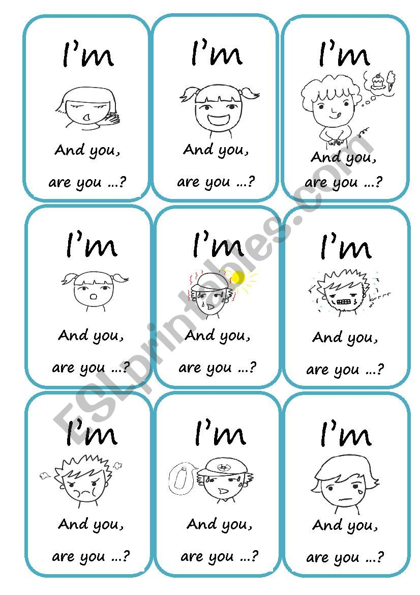 Speaking cards about feelings / Go fish game