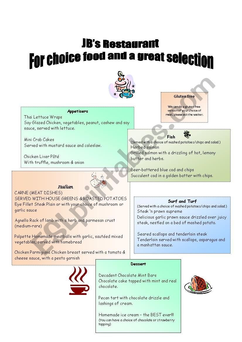 Restaurant  - expressing personal opinions and making suggestions (communicative exercises)