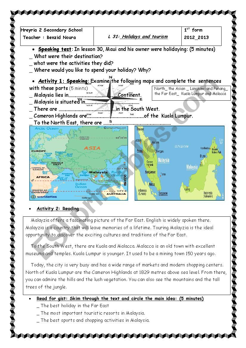 First form Holidays and tourism