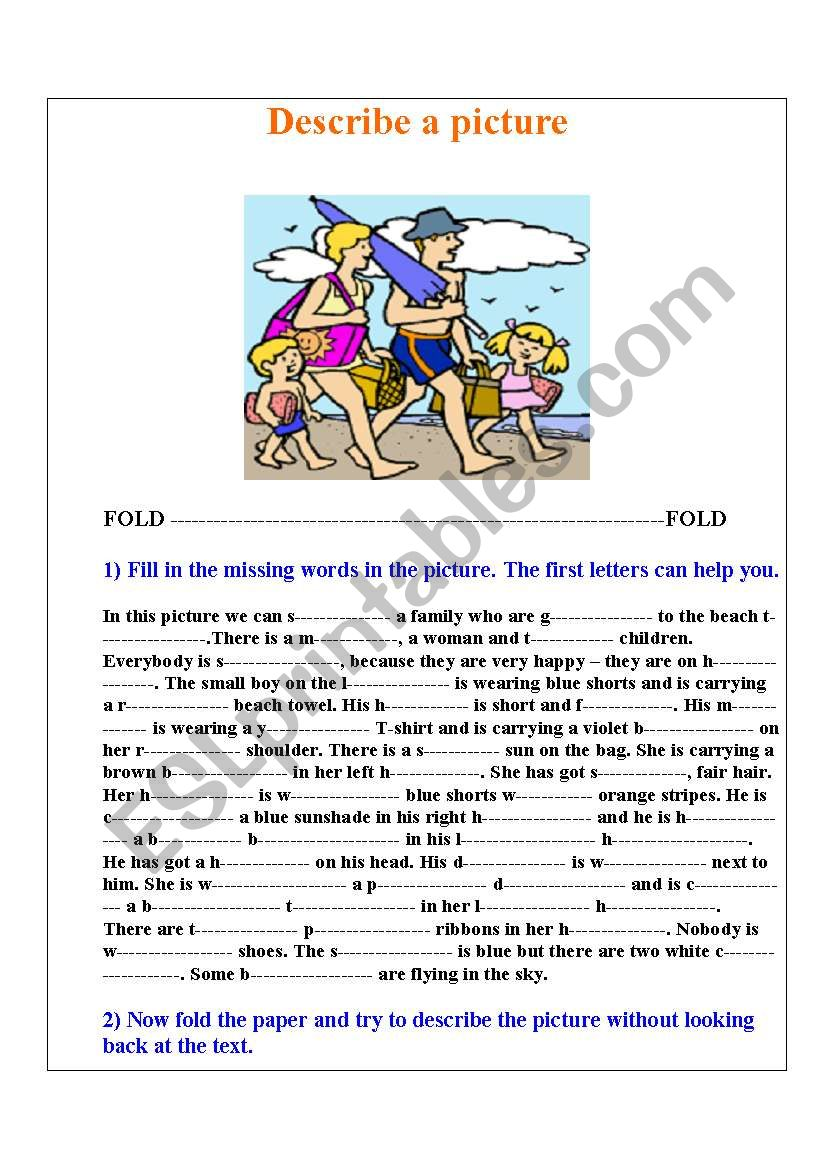 Describe a picture worksheet