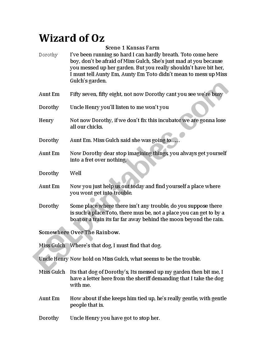 Wizard of oz abridged script - ESL worksheet by janetapple