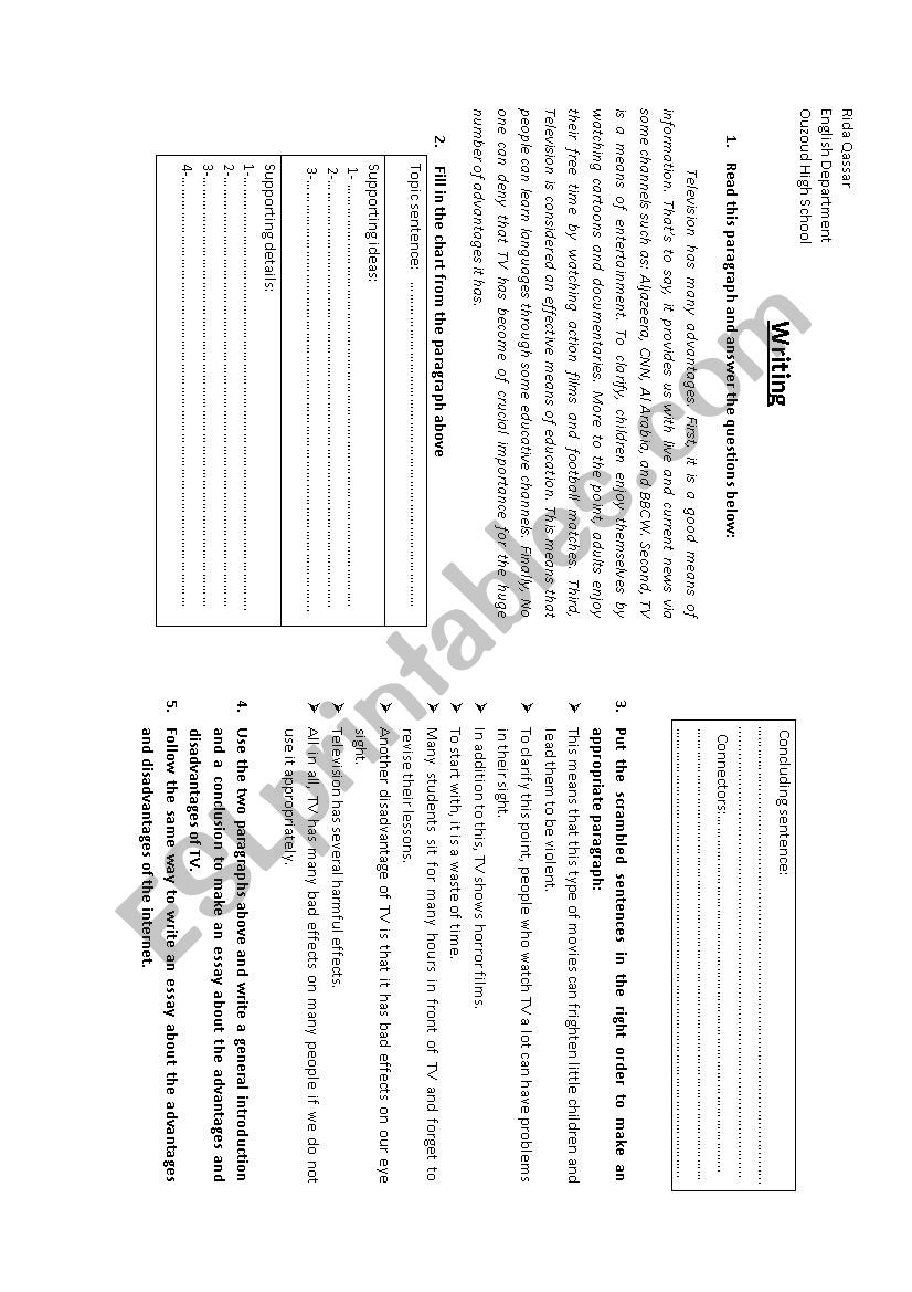 guided writing esl worksheet by qassar. Black Bedroom Furniture Sets. Home Design Ideas