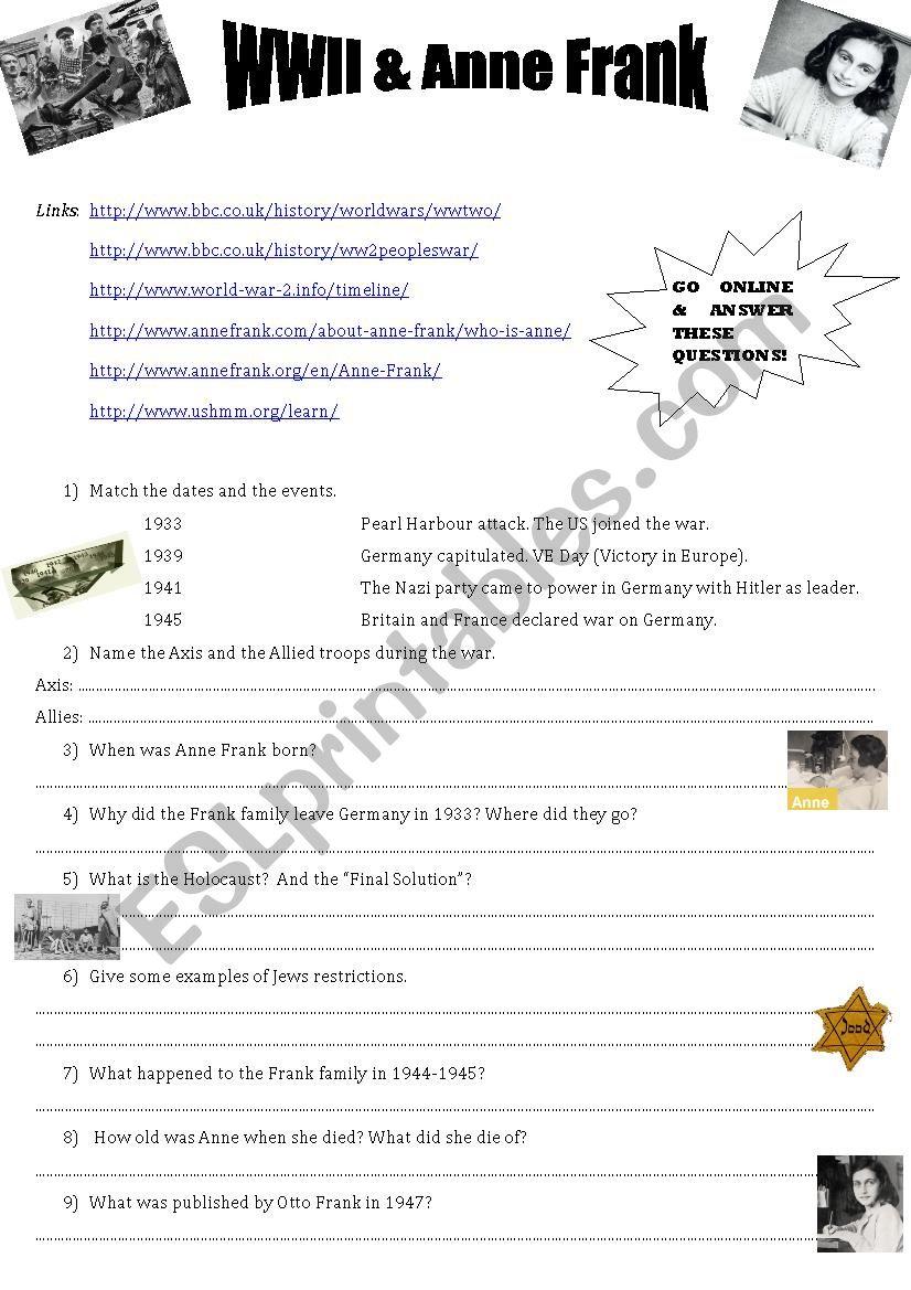 Webquest -WWII & Anne Frank worksheet
