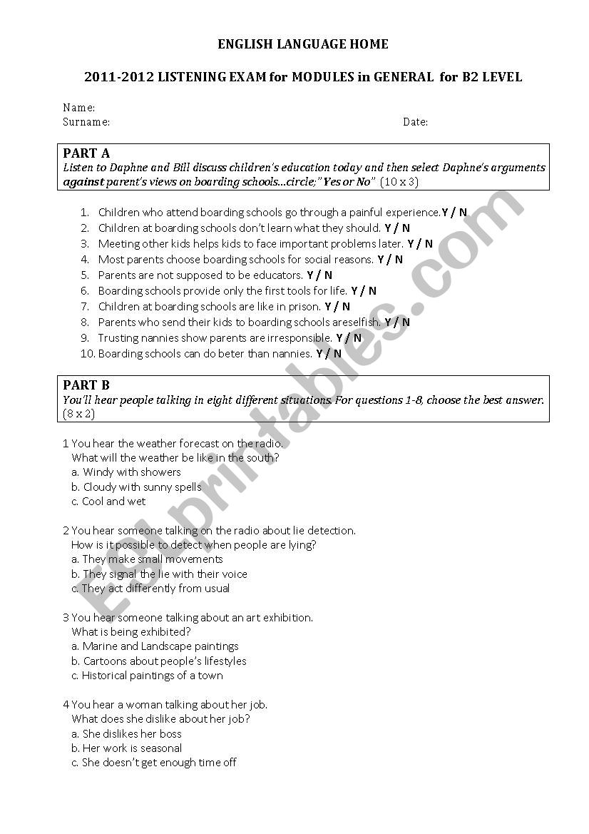Listening test for B2 Level / exam - ESL worksheet by hakanhacer