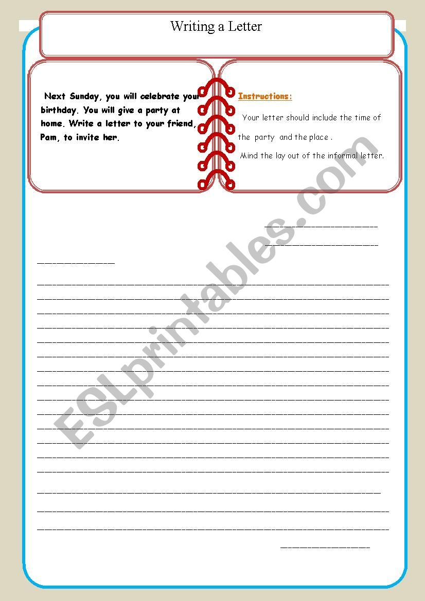 Writing an informal letter( 8 th form Tunisian ss)