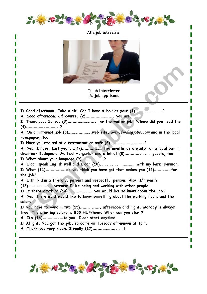 Job Interview Dialogue - ESL worksheet by coldseed