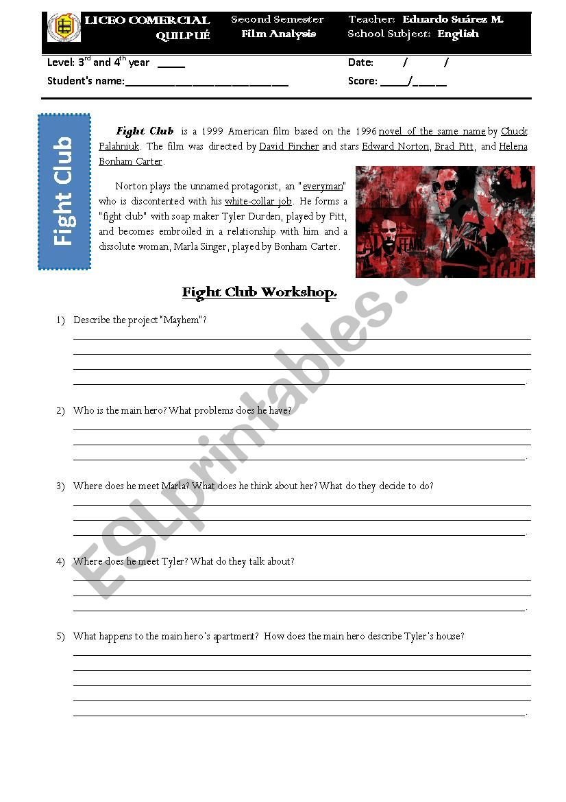 English Worksheets Fight Club Movie Analysis
