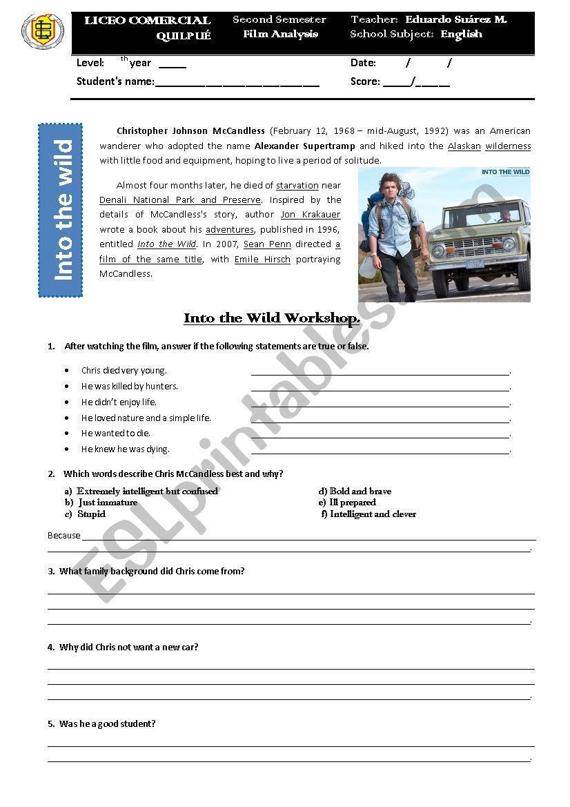 Into The Wild Movie Analysis Esl Worksheet By Eduthoreau