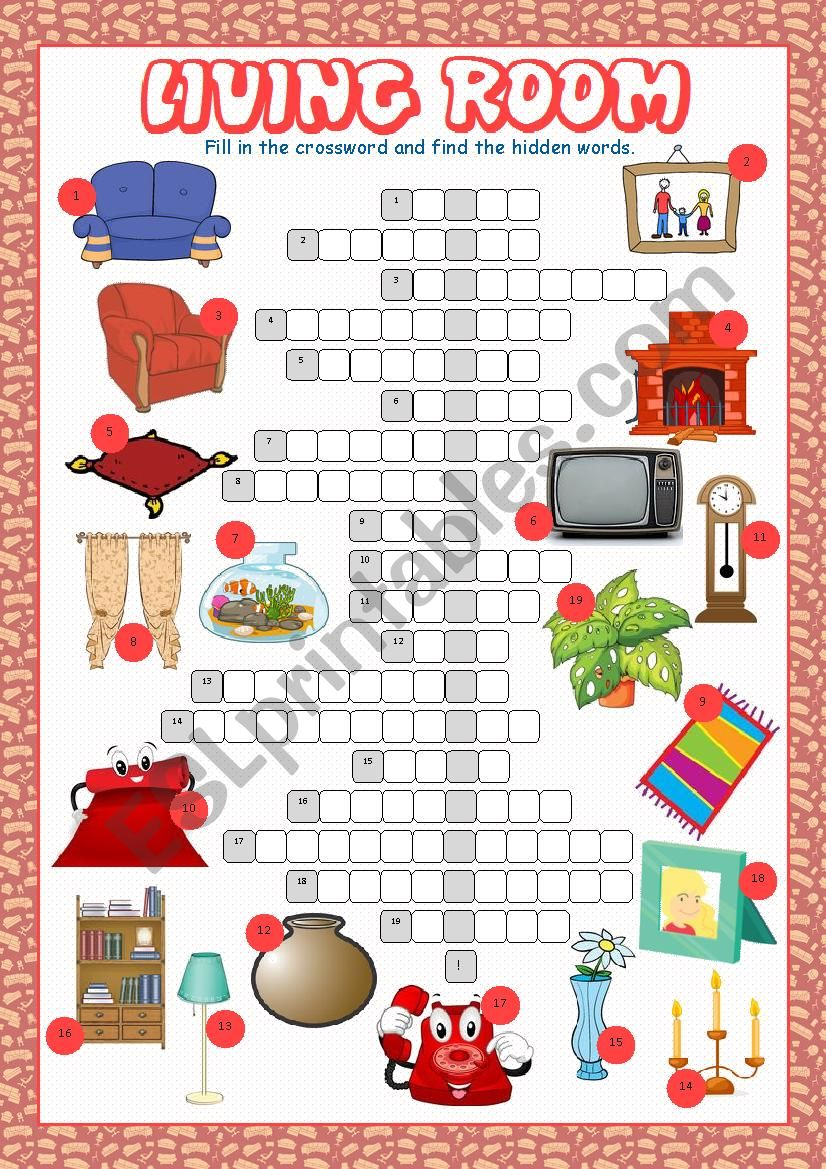 Living Room Crossword Puzzle worksheet
