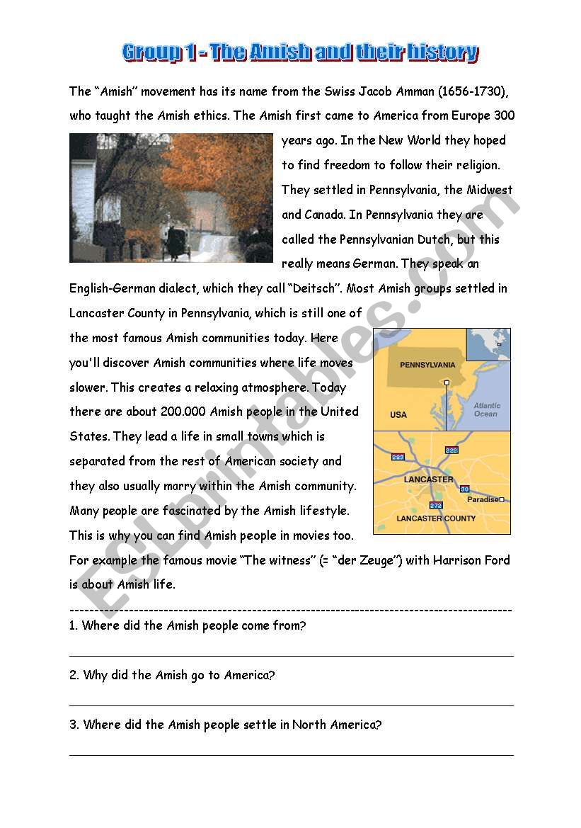 Text about Amish people worksheet
