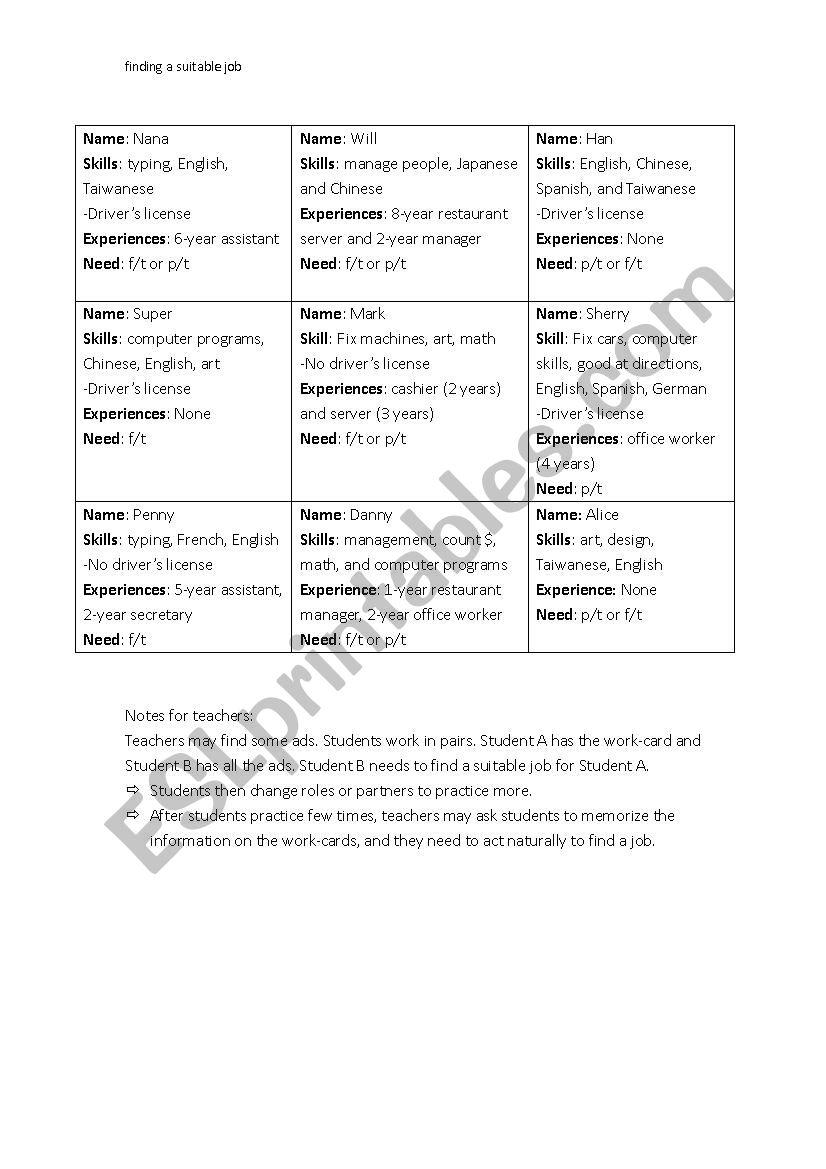 Finding a suitable job - ESL worksheet by J729