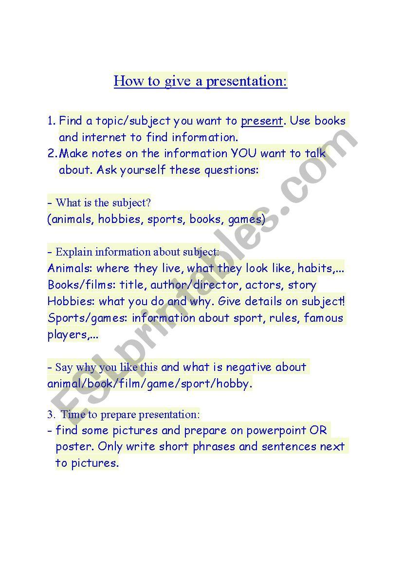 Presentation guide worksheet