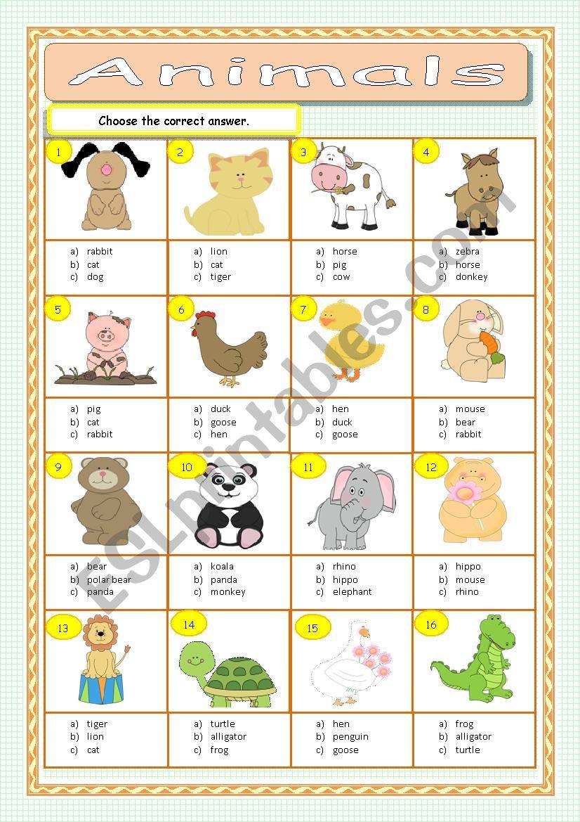 Animals - Multiple Choice worksheet