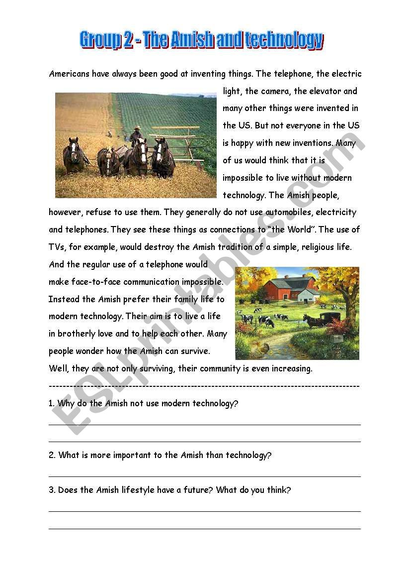 Amish Text 2  worksheet