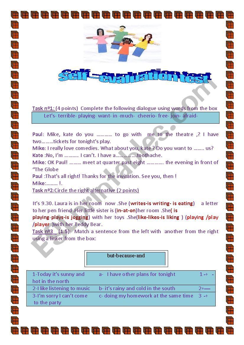 self-evaluation  worksheet