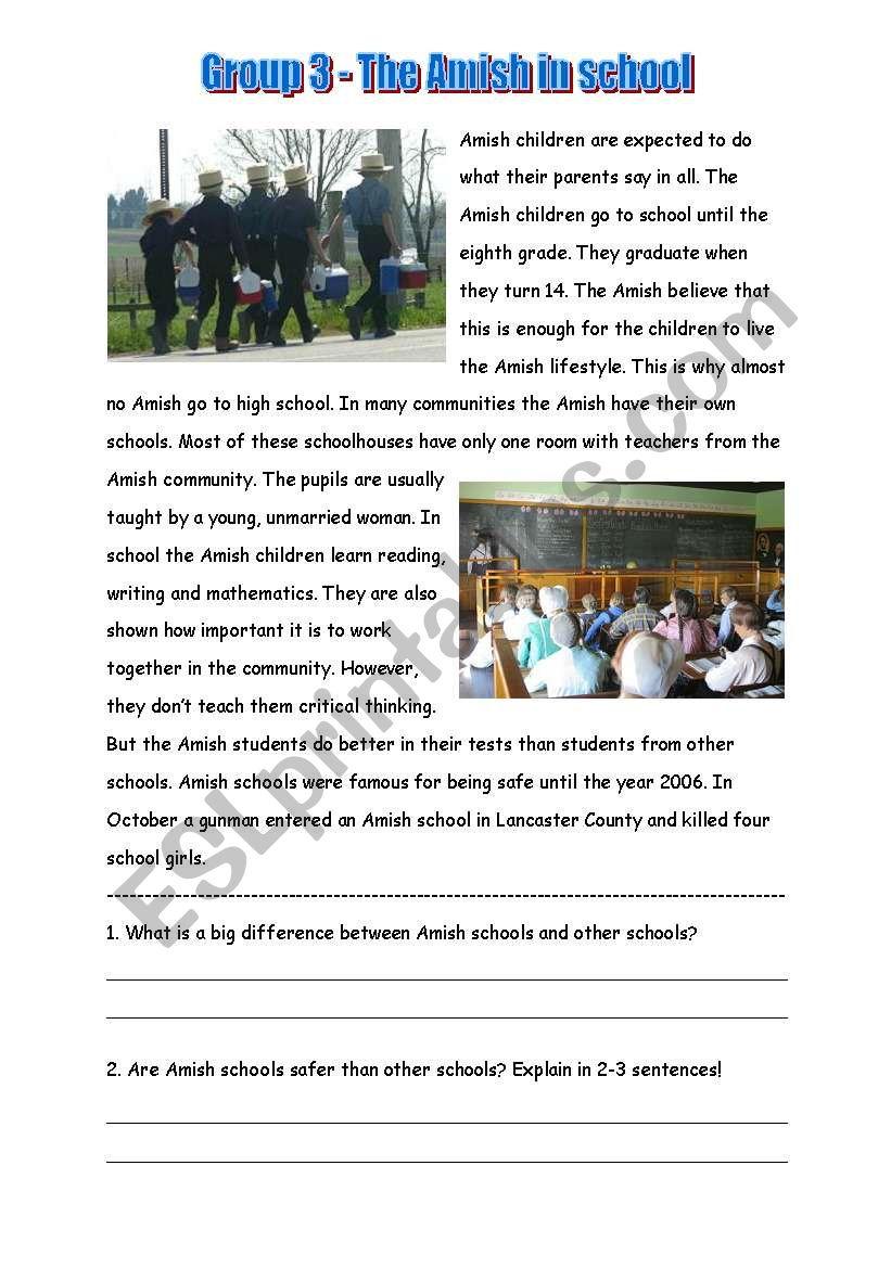 Amish  worksheet