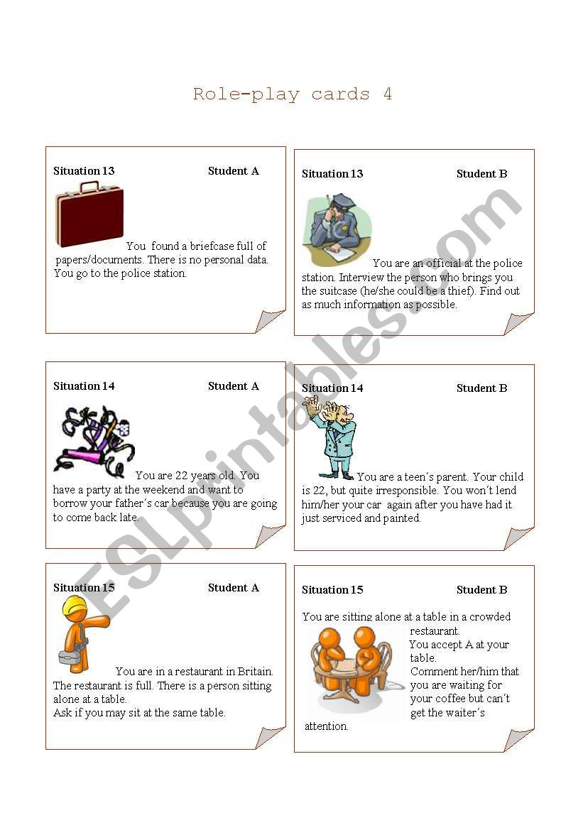 Role-play cards Set 4 worksheet