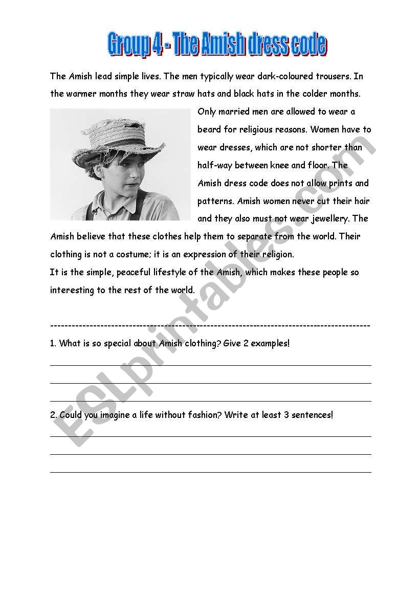 Amish 4 worksheet