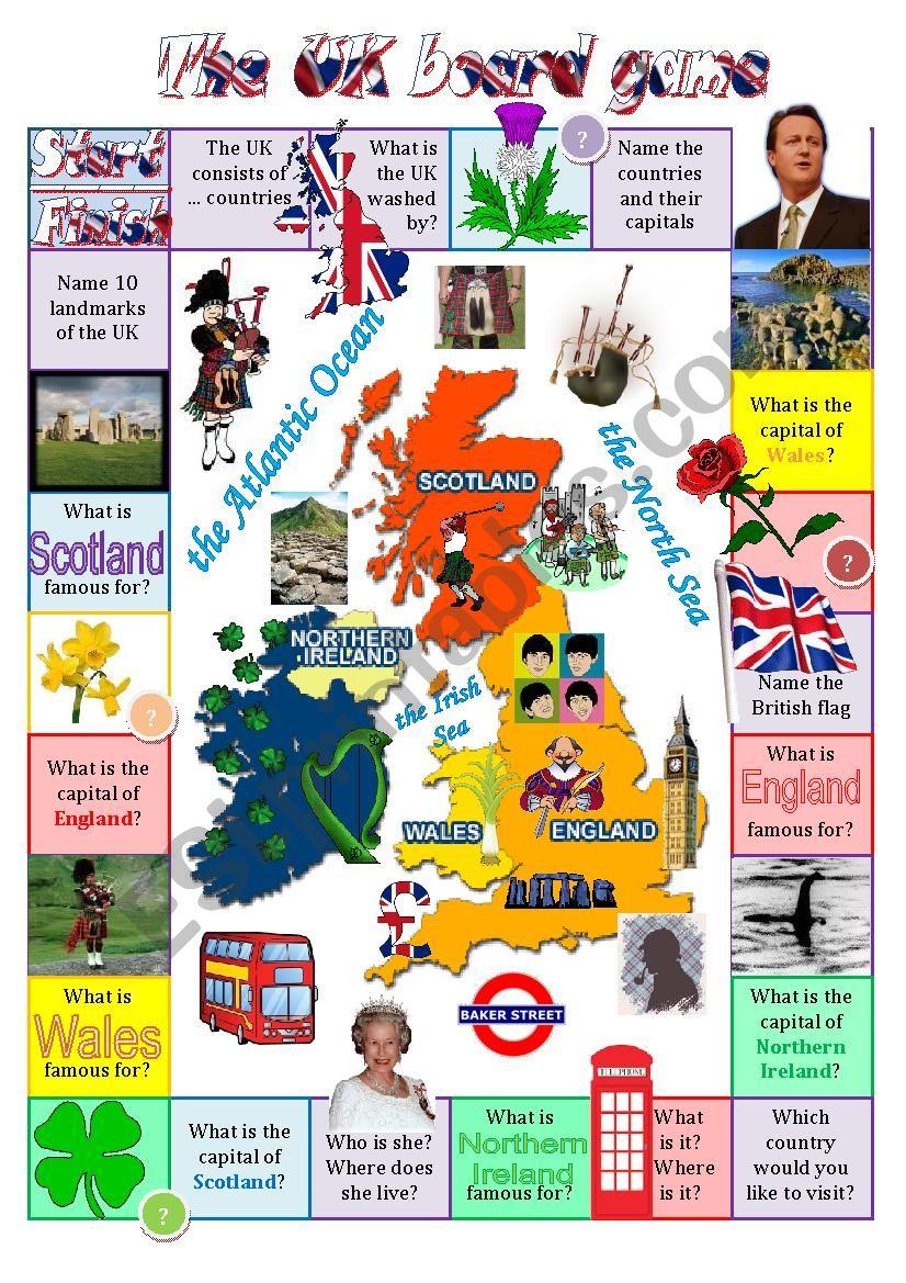 The United Kingdom board game worksheet