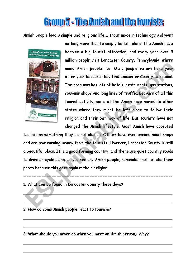 Amish 5 worksheet