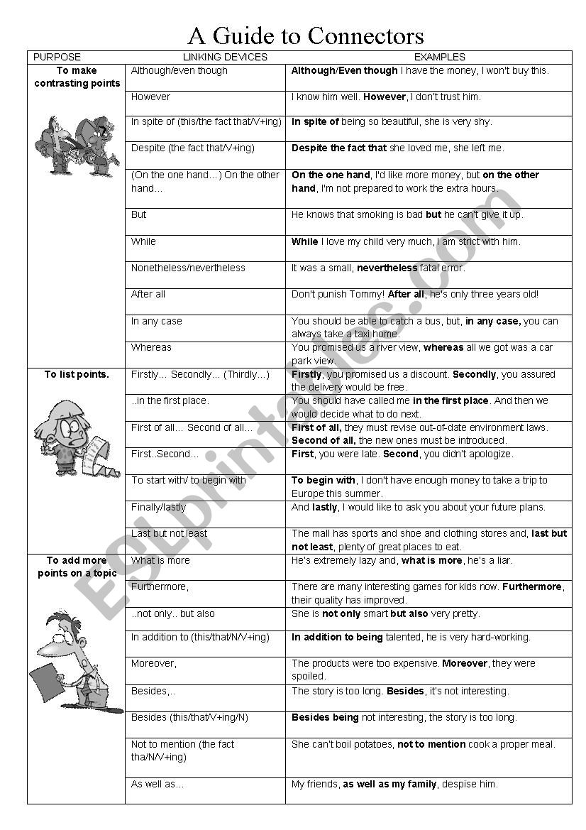 A Guide To Connectors Esl Worksheet By Lifeline