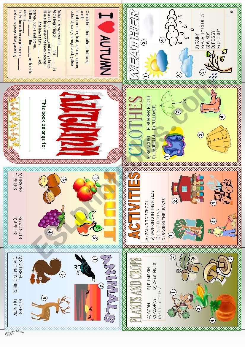 Autumn Minibook worksheet