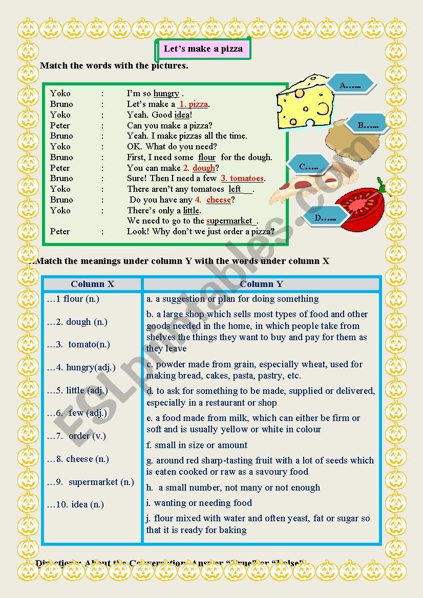 Let´s make a pizza worksheet