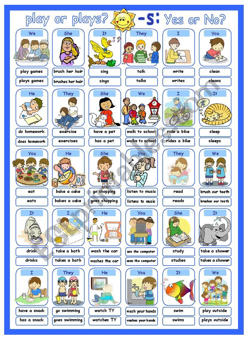 Simple Present Affirmative with Basic Verbs