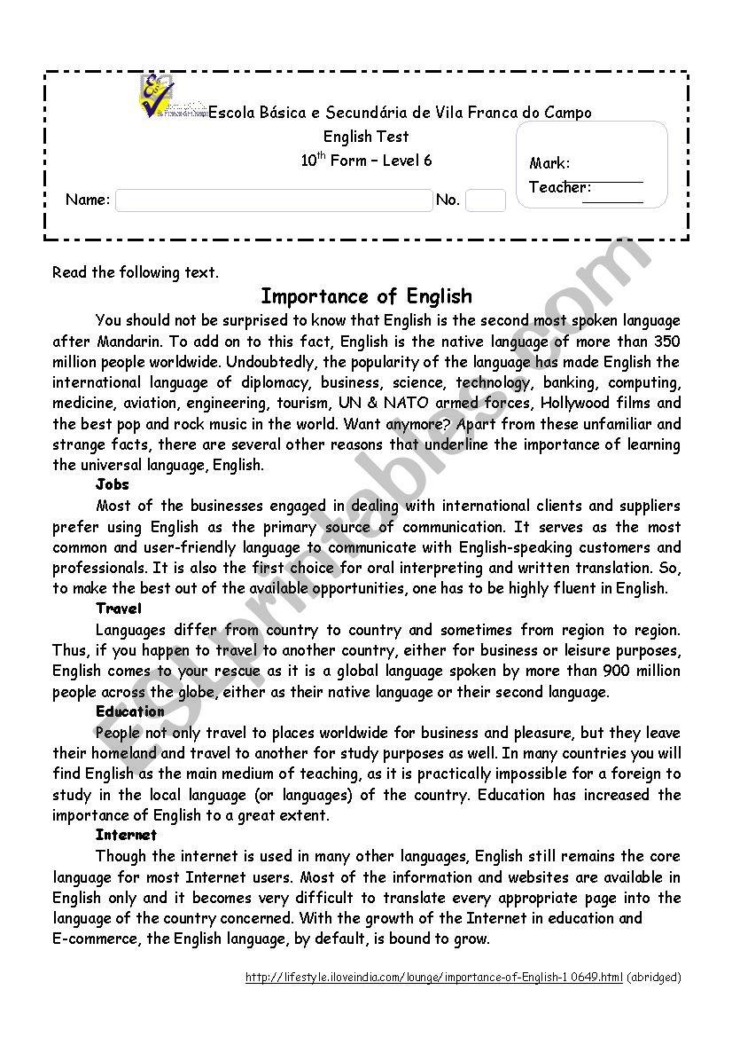 The importance of English worksheet